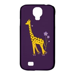Purple Cute Cartoon Giraffe Samsung Galaxy S4 Classic Hardshell Case (pc+silicone)