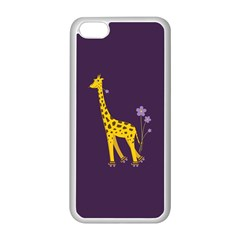 Purple Cute Cartoon Giraffe Apple Iphone 5c Seamless Case (white)