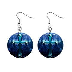 Glossy Blue Cross Live Wp 1 2 S 307x512 Mini Button Earrings by ukbanter