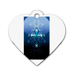 Glossy Blue Cross Live Wp 1 2 S 307x512 Dog Tag Heart (two Sided) by ukbanter
