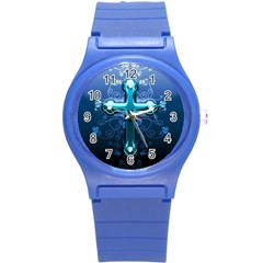 Glossy Blue Cross Live Wp 1 2 S 307x512 Plastic Sport Watch (small) by ukbanter