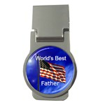 World s Best father flag money clip - Money Clip (Round)