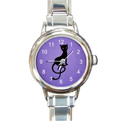 Purple Gracious Evil Black Cat Round Italian Charm Watch