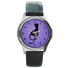 Purple Gracious Evil Black Cat Round Leather Watch (silver Rim)