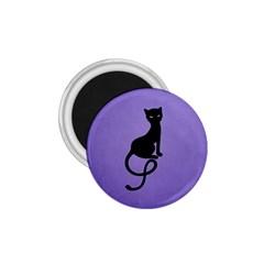 Purple Gracious Evil Black Cat 1 75  Button Magnet