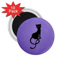 Purple Gracious Evil Black Cat 2 25  Button Magnet (10 Pack)