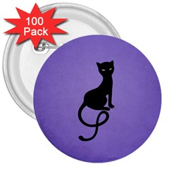 Purple Gracious Evil Black Cat 3  Button (100 Pack)