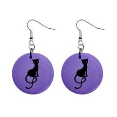 Purple Gracious Evil Black Cat Mini Button Earrings