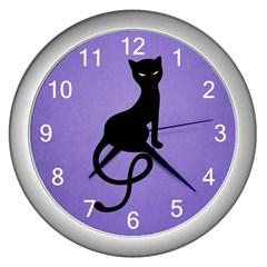 Purple Gracious Evil Black Cat Wall Clock (silver)