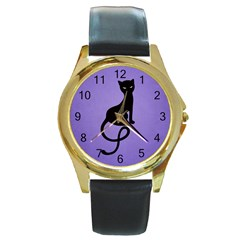 Purple Gracious Evil Black Cat Round Leather Watch (gold Rim)