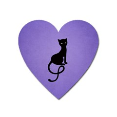 Purple Gracious Evil Black Cat Magnet (heart)
