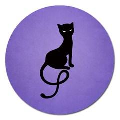 Purple Gracious Evil Black Cat Magnet 5  (round) by CreaturesStore