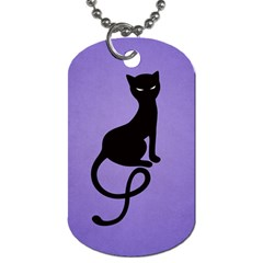 Purple Gracious Evil Black Cat Dog Tag (two Sided)  by CreaturesStore