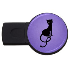 Purple Gracious Evil Black Cat 2gb Usb Flash Drive (round)