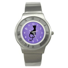 Purple Gracious Evil Black Cat Stainless Steel Watch (slim)