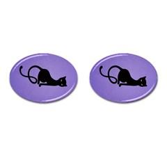 Purple Gracious Evil Black Cat Cufflinks (oval)