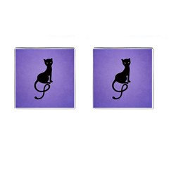 Purple Gracious Evil Black Cat Cufflinks (square)