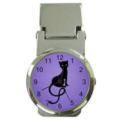 Purple Gracious Evil Black Cat Money Clip With Watch