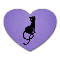 Purple Gracious Evil Black Cat Mouse Pad (heart)
