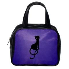 Purple Gracious Evil Black Cat Classic Handbag (one Side)