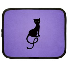 Purple Gracious Evil Black Cat Netbook Sleeve (xl) by CreaturesStore
