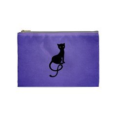 Purple Gracious Evil Black Cat Cosmetic Bag (medium) by CreaturesStore