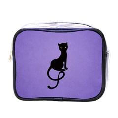 Purple Gracious Evil Black Cat Mini Travel Toiletry Bag (one Side)