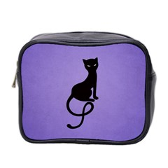 Purple Gracious Evil Black Cat Mini Travel Toiletry Bag (two Sides)