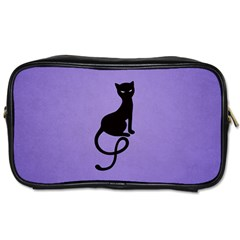 Purple Gracious Evil Black Cat Travel Toiletry Bag (two Sides)