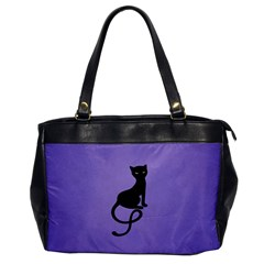 Purple Gracious Evil Black Cat Oversize Office Handbag (one Side)