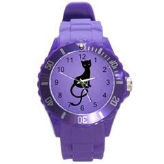 Purple Gracious Evil Black Cat Plastic Sport Watch (large)
