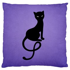 Purple Gracious Evil Black Cat Large Cushion Case (single Sided)  by CreaturesStore