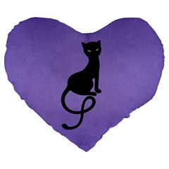 Purple Gracious Evil Black Cat 19  Premium Heart Shape Cushion