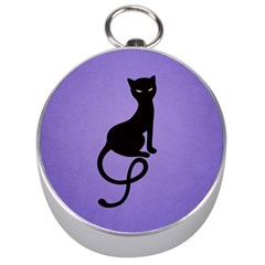 Purple Gracious Evil Black Cat Silver Compass