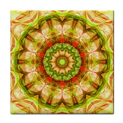 Red Green Apples Mandala Ceramic Tile
