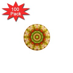 Red Green Apples Mandala 1  Mini Button Magnet (100 Pack) by Zandiepants