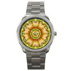 Red Green Apples Mandala Sport Metal Watch by Zandiepants
