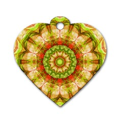 Red Green Apples Mandala Dog Tag Heart (one Sided)