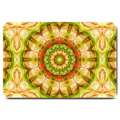 Red Green Apples Mandala Large Door Mat by Zandiepants