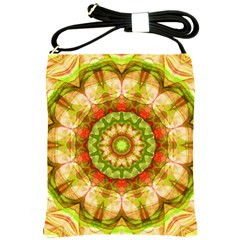 Red Green Apples Mandala Shoulder Sling Bag by Zandiepants
