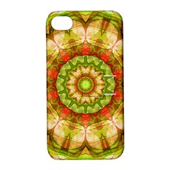 Red Green Apples Mandala Apple Iphone 4/4s Hardshell Case With Stand by Zandiepants