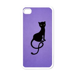 Purple Gracious Evil Black Cat Apple Iphone 4 Case (white)