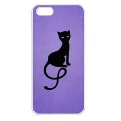Purple Gracious Evil Black Cat Apple Iphone 5 Seamless Case (white)