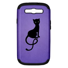 Purple Gracious Evil Black Cat Samsung Galaxy S III Hardshell Case (PC+Silicone) by CreaturesStore