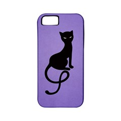 Purple Gracious Evil Black Cat Apple Iphone 5 Classic Hardshell Case (pc+silicone)