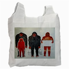 1 Neanderthal & 3 Big Foot,on White, White Reusable Bag (one Side) by creationtruth
