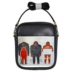 1 Neanderthal & 3 Big Foot,on White, Girl s Sling Bag by creationtruth