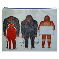 1 Neanderthal & 3 Big Foot,on White, Cosmetic Bag (xxxl) by creationtruth