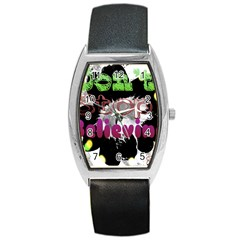 Don t Stop Believing Tonneau Leather Watch by SharoleneCollection