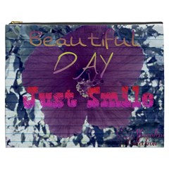 Beautiful Day Just Smile Cosmetic Bag (XXXL) by SharoleneCollection